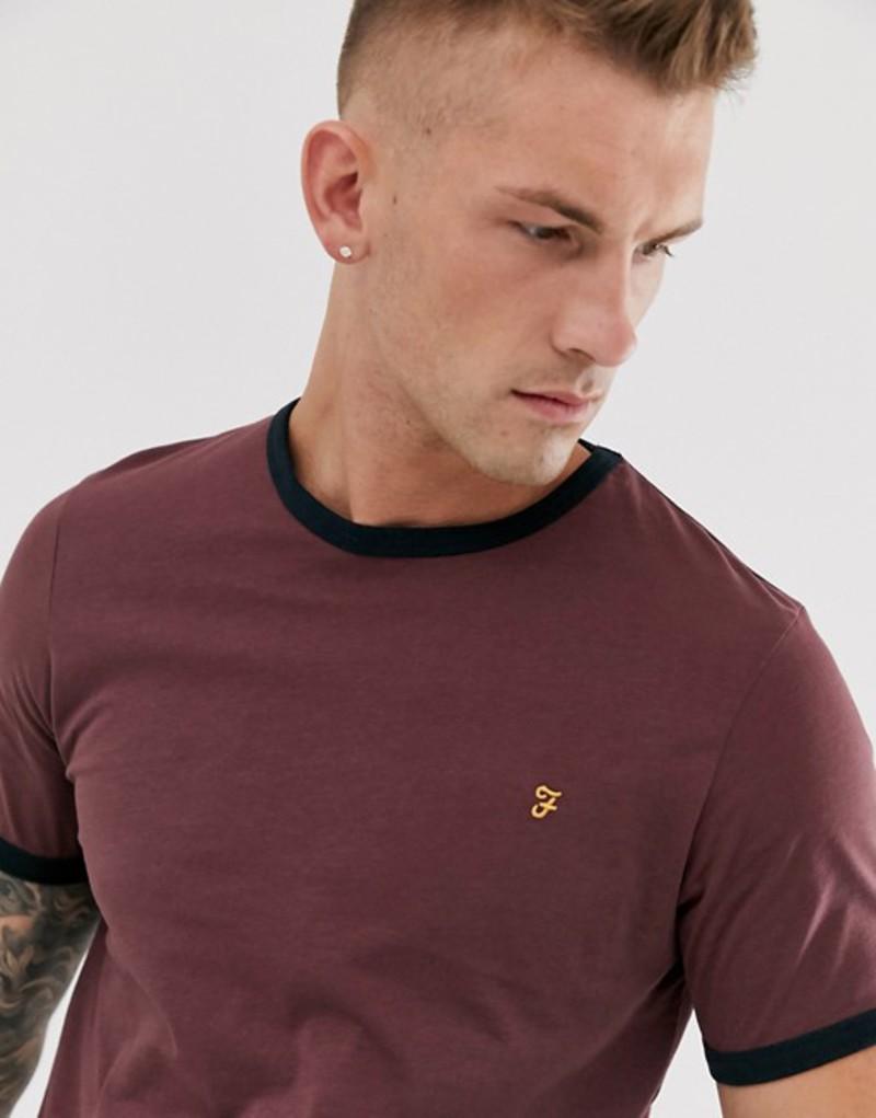 ファーラー メンズ Tシャツ トップス Farah Groves ringer t-shirt in burgundy Burgundy