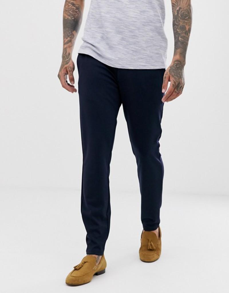 オンリーアンドサンズ メンズ カジュアルパンツ ボトムス Only & Sons slim smart pants in navy Night sky