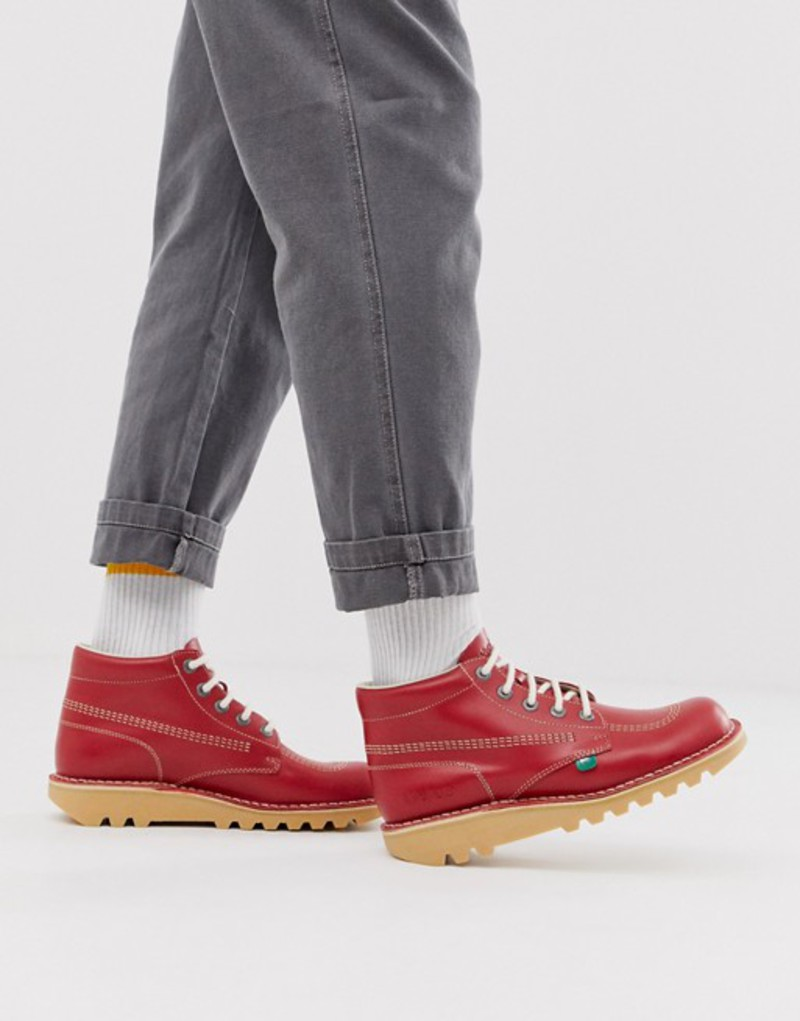 キッカーズ メンズ ブーツ・レインブーツ シューズ Kickers kick hi boots in red leather Red