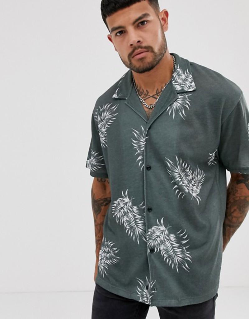 ジャック アンド ジョーンズ メンズ シャツ トップス Jack & Jones Premium printed short sleeve shirt in green Green