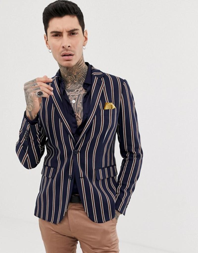 デビルズ アドボケート メンズ ジャケット・ブルゾン アウター Devils Advocate skinny fit stripe blazer Navy