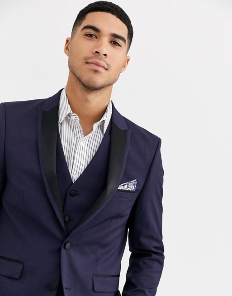 ハリー ブラウン メンズ ジャケット・ブルゾン アウター Harry Brown Slim 50% Wool Split Lapel navy Dinner Suit Jacket Navy