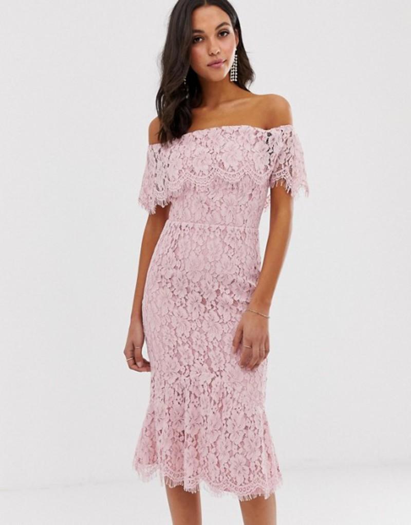リトルミストレス レディース ワンピース トップス Little Mistress bardot all over lace midi dress Dusty blush