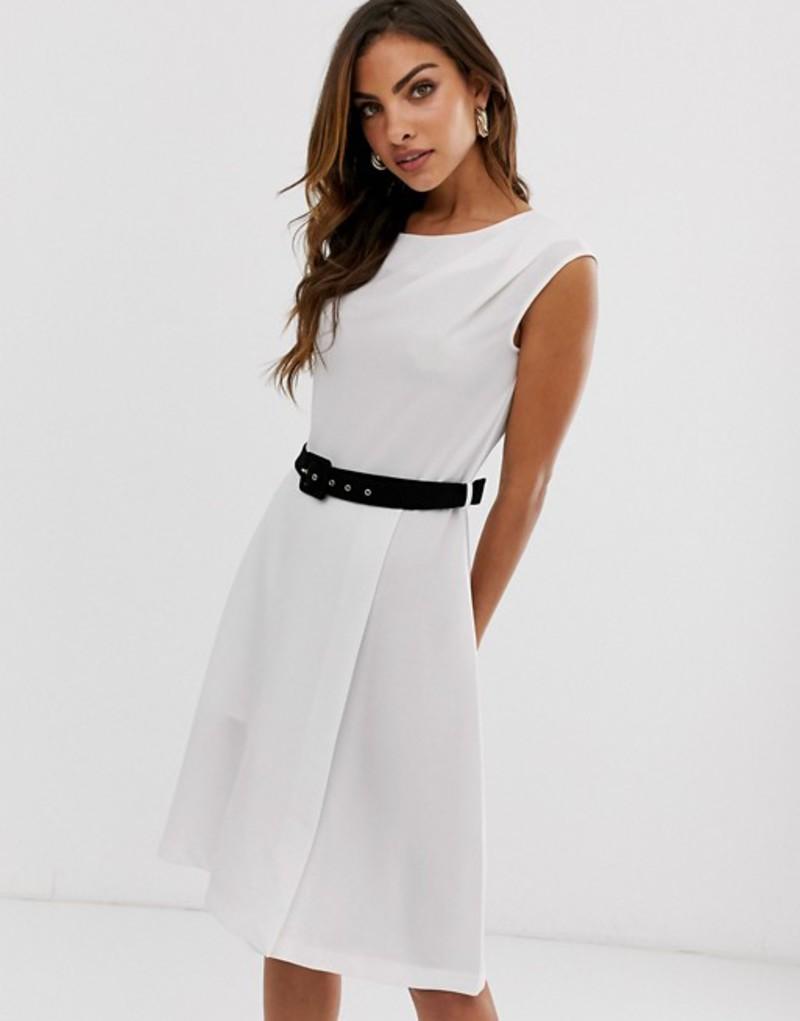 クローゼットロンドン レディース ワンピース トップス Closet London mini pencil dress with contrast belt detail in white White