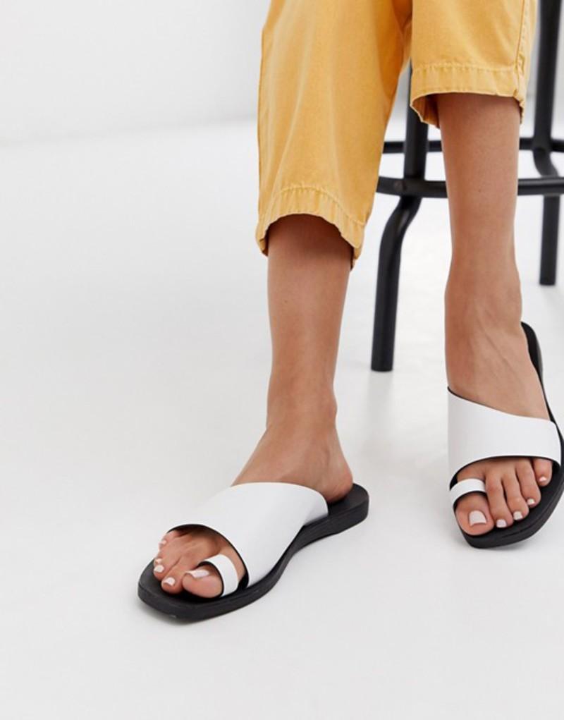 ピーシーズ レディース サンダル シューズ Pieces leather sandals Bight white