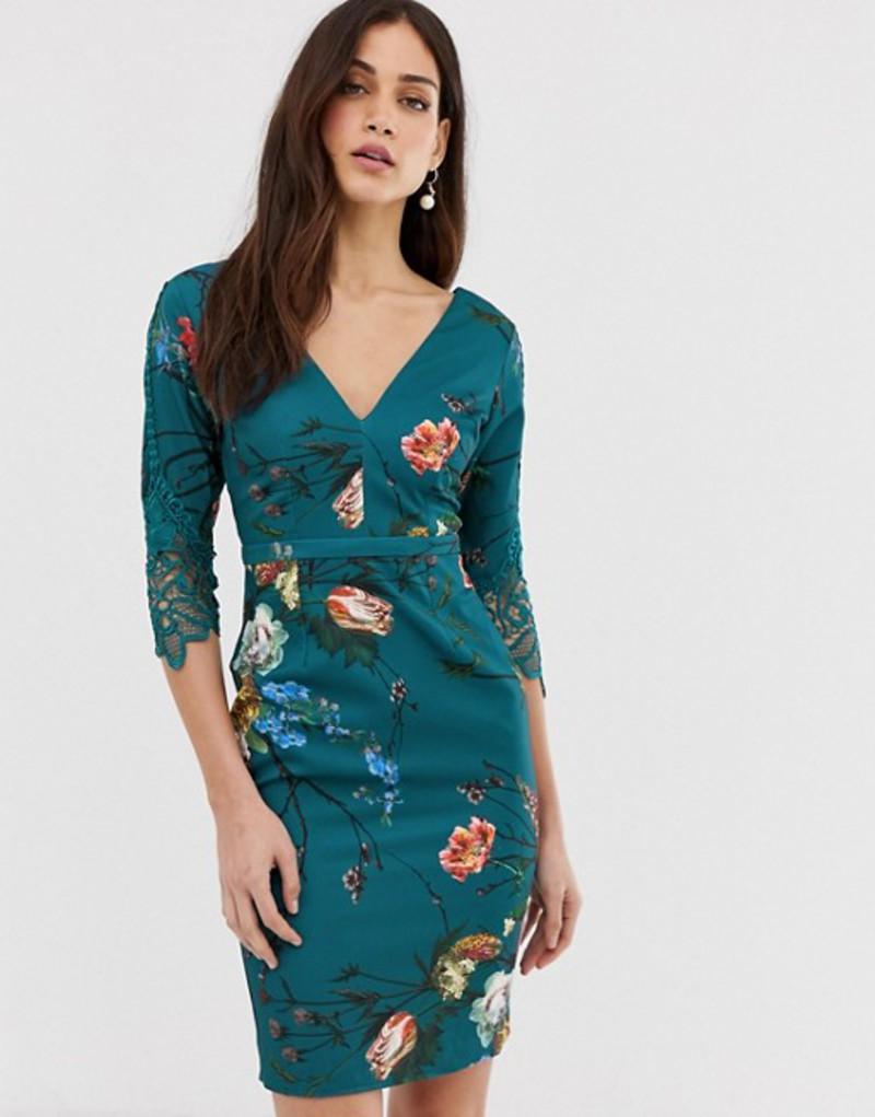 リトルミストレス レディース ワンピース トップス Little Mistress 3/4 sleeve printed belted midi dress with lace detail Multi