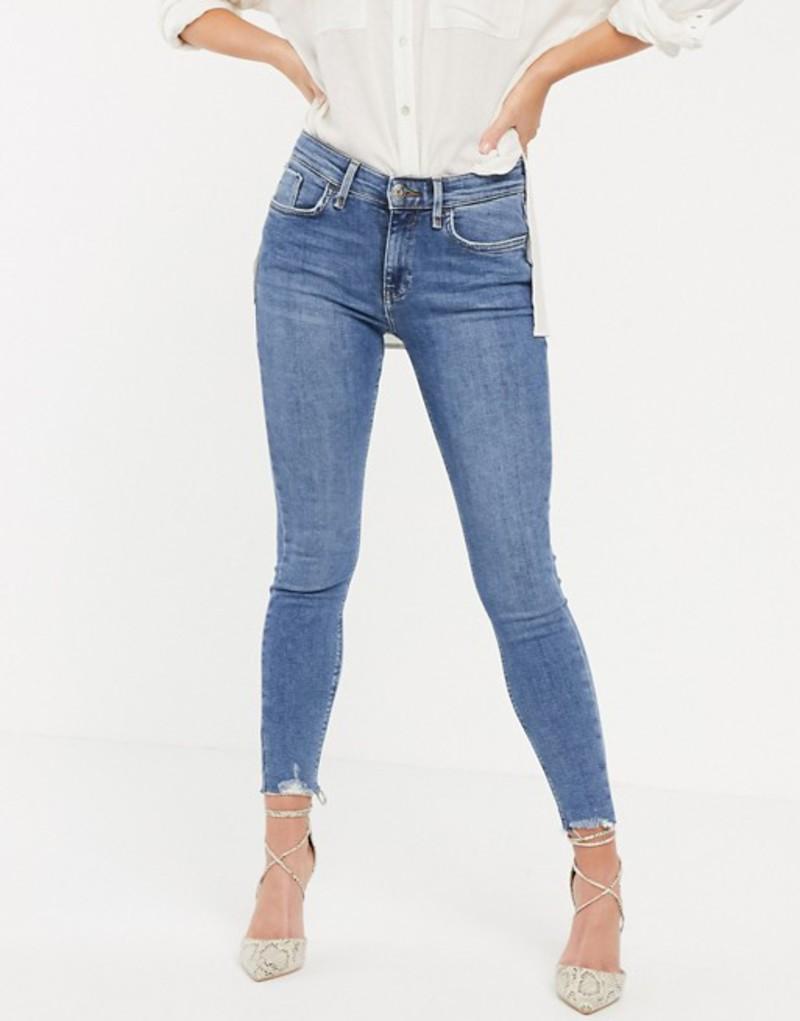 リバーアイランド レディース デニムパンツ ボトムス River Island Amelie skinny jeans with raw hem in mid blue Mid auth
