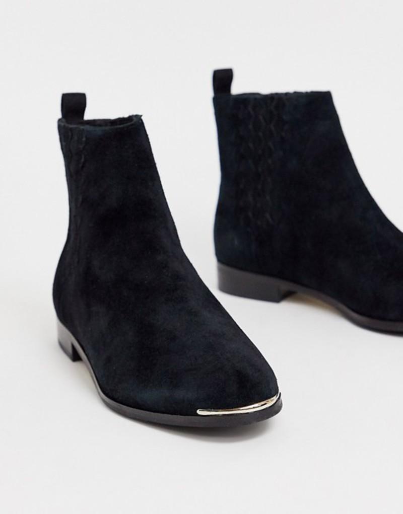 テッドベーカー レディース ブーツ・レインブーツ シューズ Ted Baker Iveca leather flat ankle boots Black leather