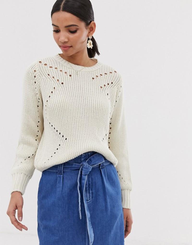 ワイエーエス レディース ニット・セーター アウター Y.A.S lightweight cable knit sweater Cream