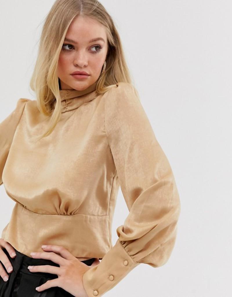ワイエーエス レディース シャツ トップス Y A S high neck blouse with volume sleevejLzGSVqUpM