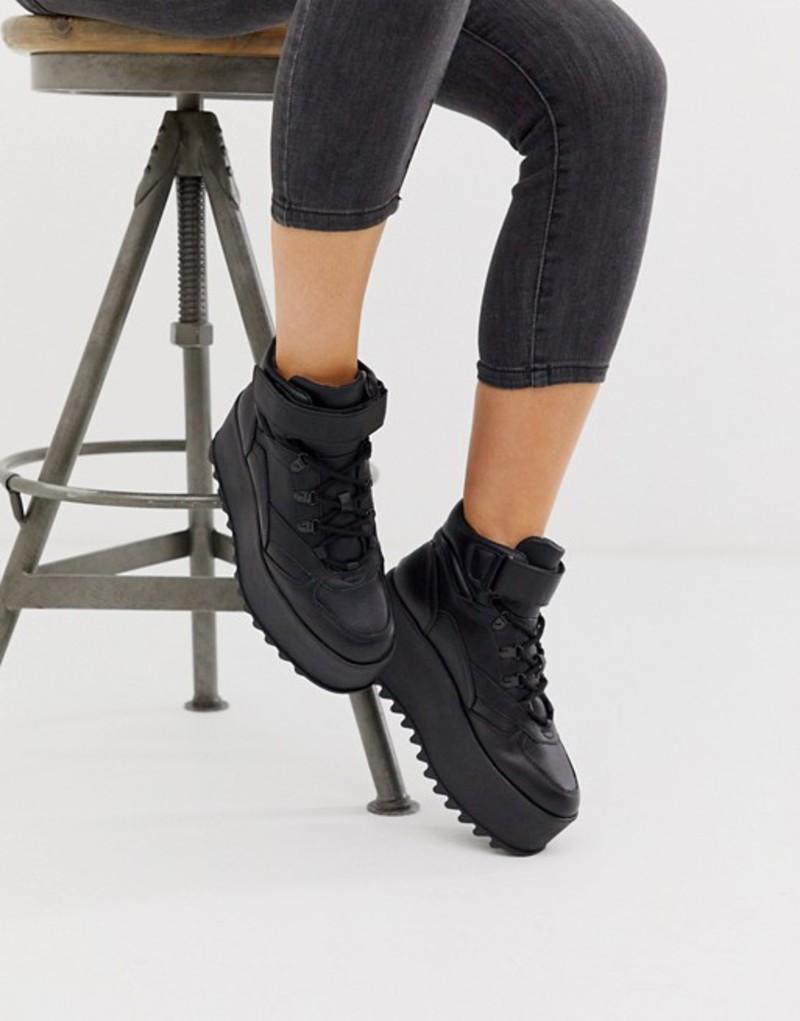 ベルシュカ レディース スニーカー シューズ Bershka EVA flatform hi top sneakers in black Black