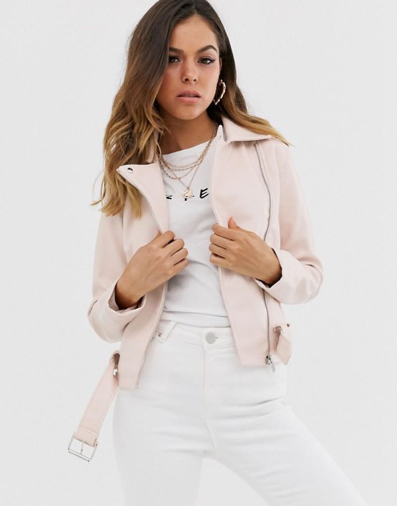 ニュールック レディース ジャケット・ブルゾン アウター New Look PU biker jacket in soft pink Nude