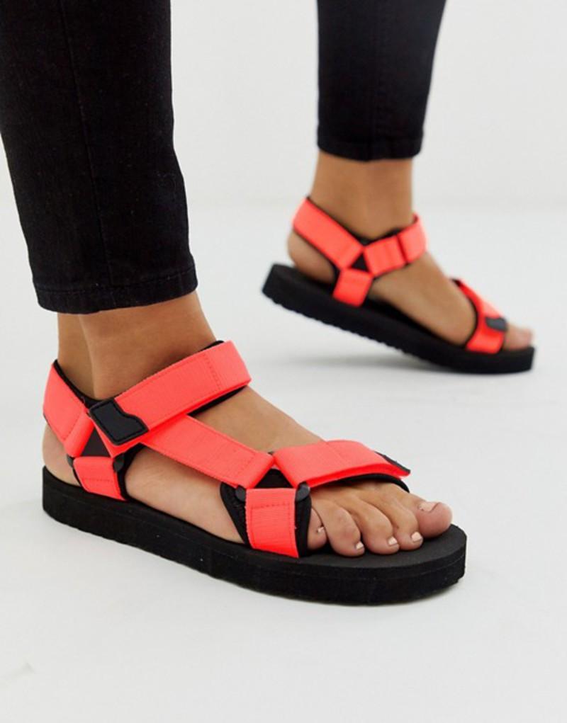 プルアンドベアー レディース サンダル シューズ Pull&Bear velcro fasten sandals in coral Coral