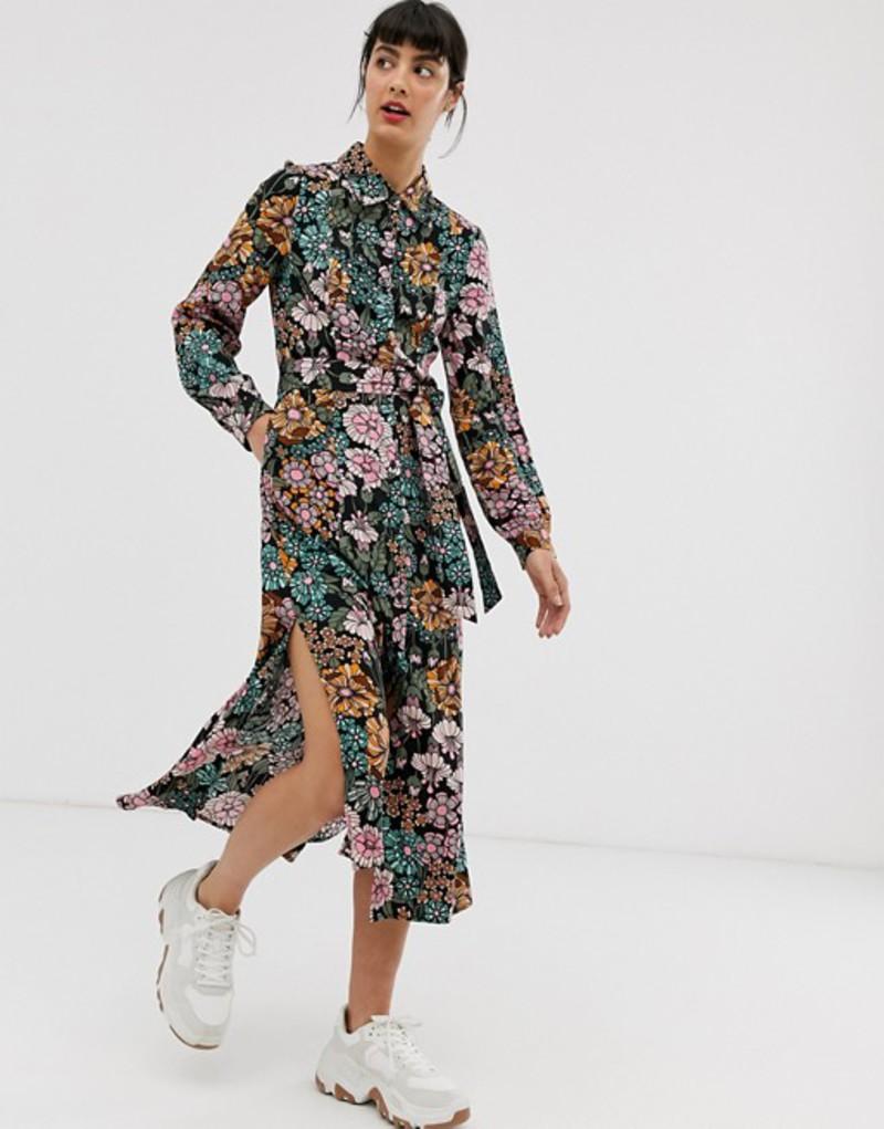 モンキ レディース ワンピース トップス Monki floral print tie waist midi shirt dress Multi floral