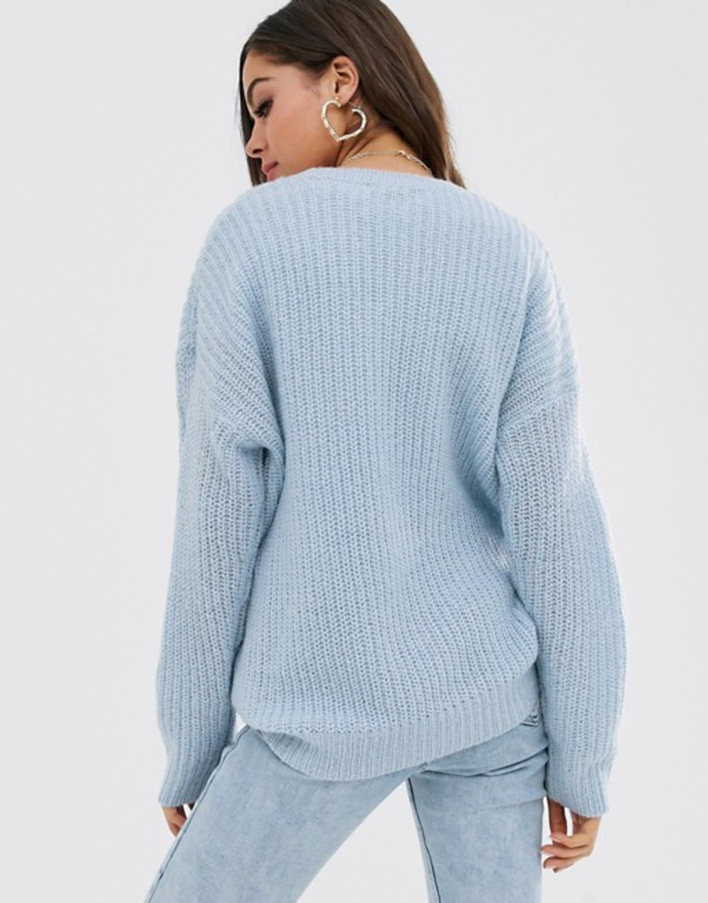 ニュールック レディース ニット・セーター アウター New Look long line drop shoulder sweater in blue BluemNn0vwPy8O
