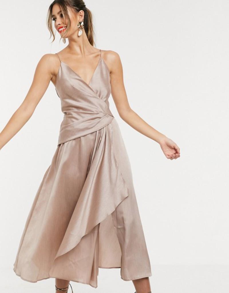 エイソス レディース ワンピース トップス ASOS DESIGN textured wrap cami midi dress with drape asymmetric detail Taupe