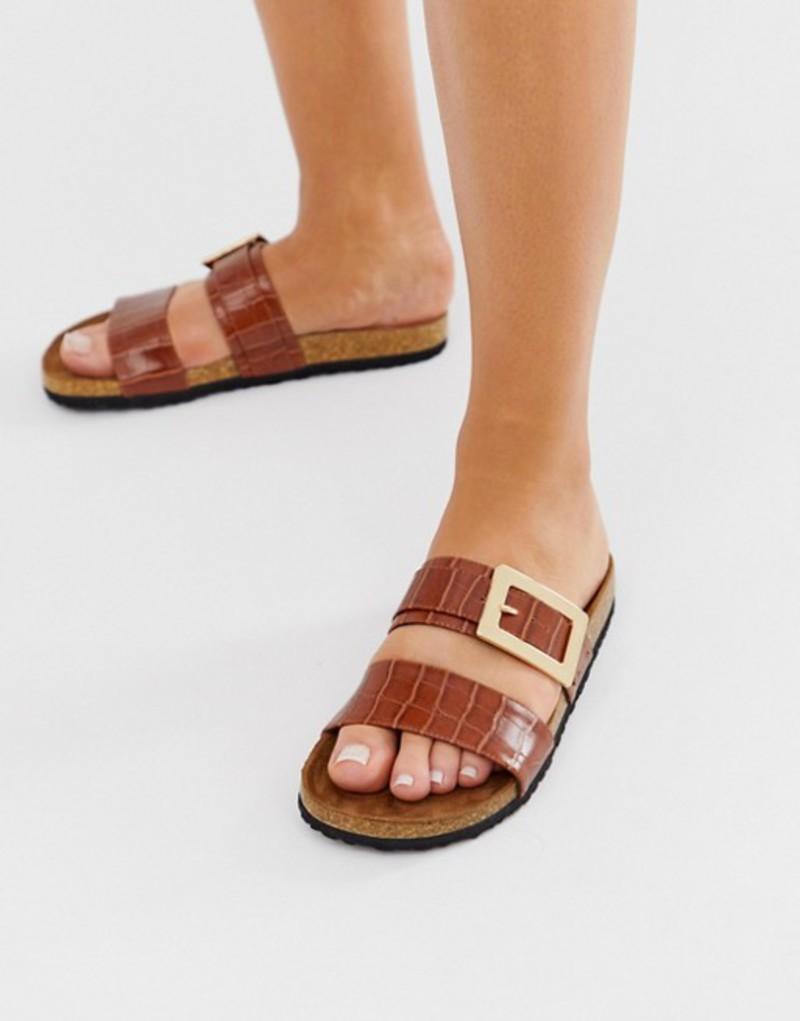 エイソス レディース サンダル シューズ ASOS DESIGN Fool For You sliders in tan croc Tan croc