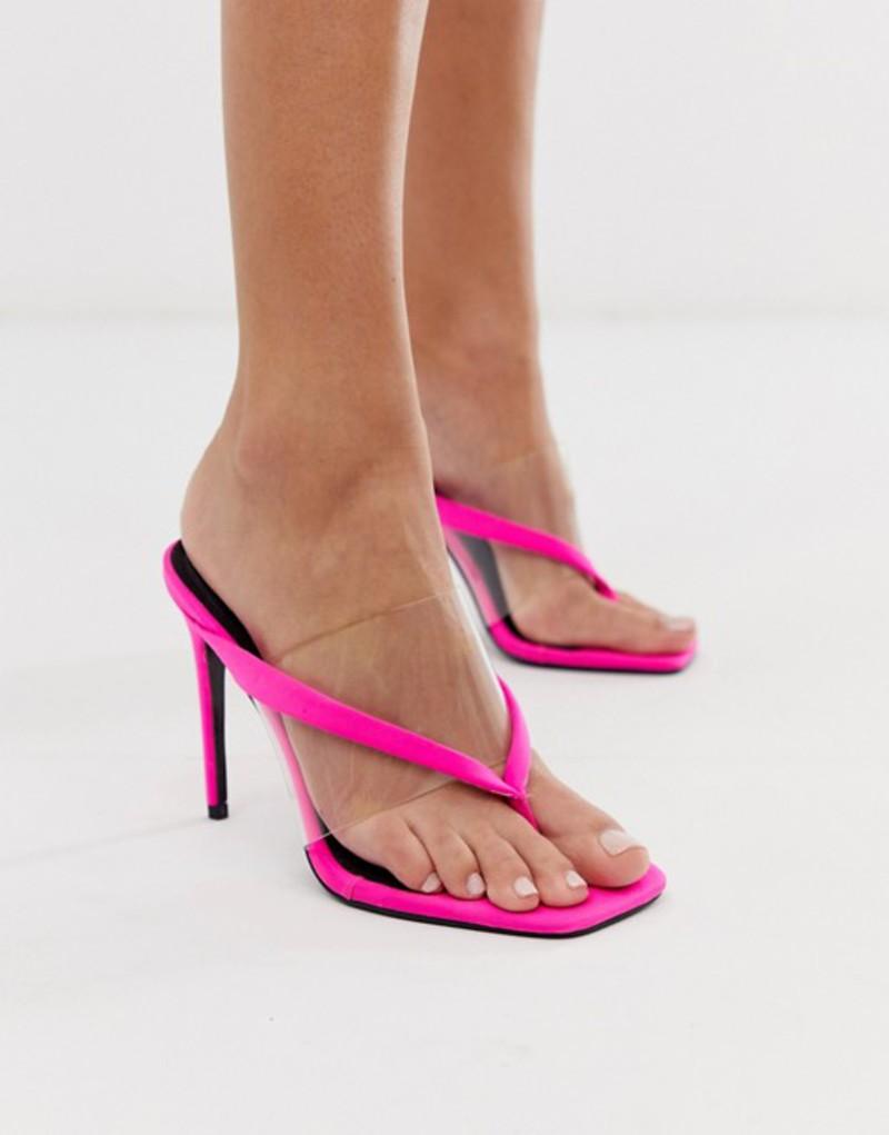エイソス レディース ヒール シューズ ASOS DESIGN Heritage toe thong heeled sandals in neon pink Neon pink
