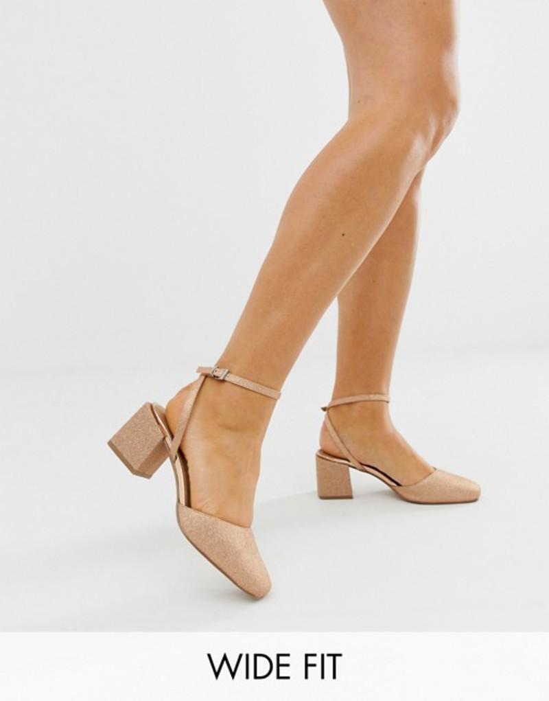 エイソス レディース ヒール シューズ ASOS DESIGN Wide Fit Salvation square toe block heeled mid shoes in rose gold glitter Rose gold glitter