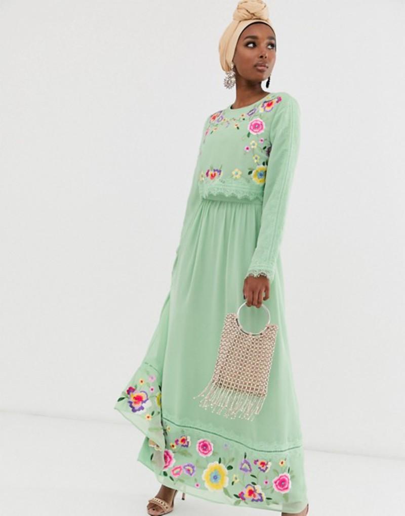 エイソス レディース ワンピース トップス ASOS DESIGN double layer embroidered maxi dress Sage green
