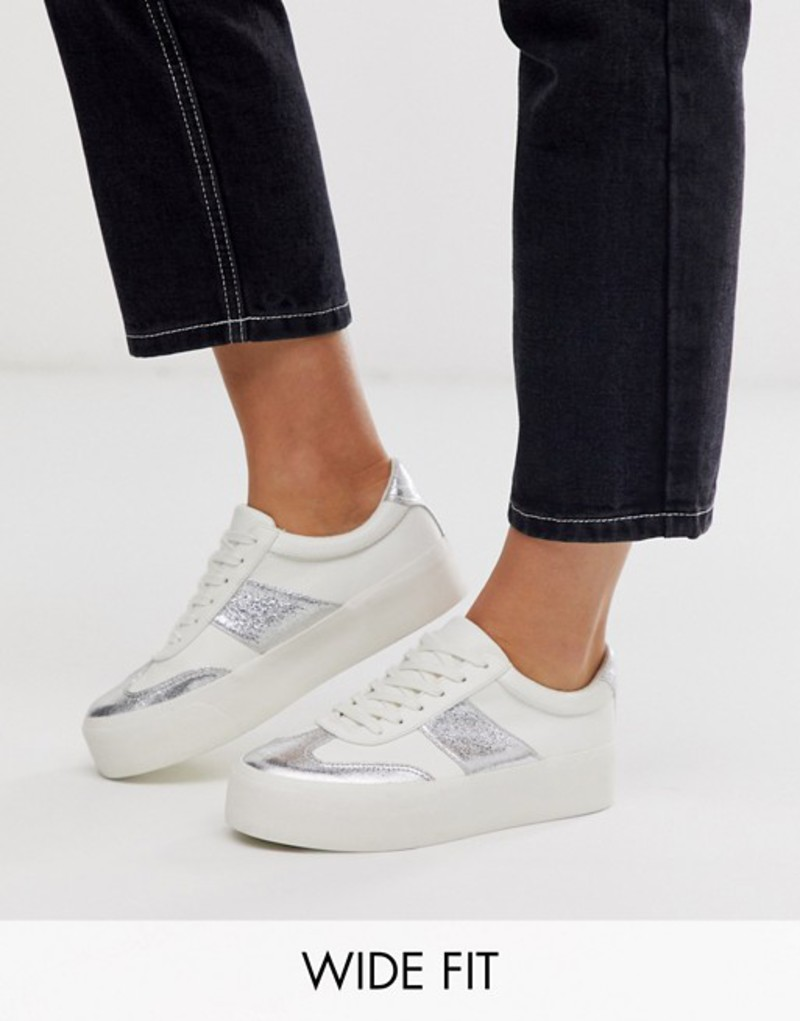 エイソス レディース スニーカー シューズ ASOS DESIGN Wide Fit Detect flatform sneakers in white and silver Off white/silver