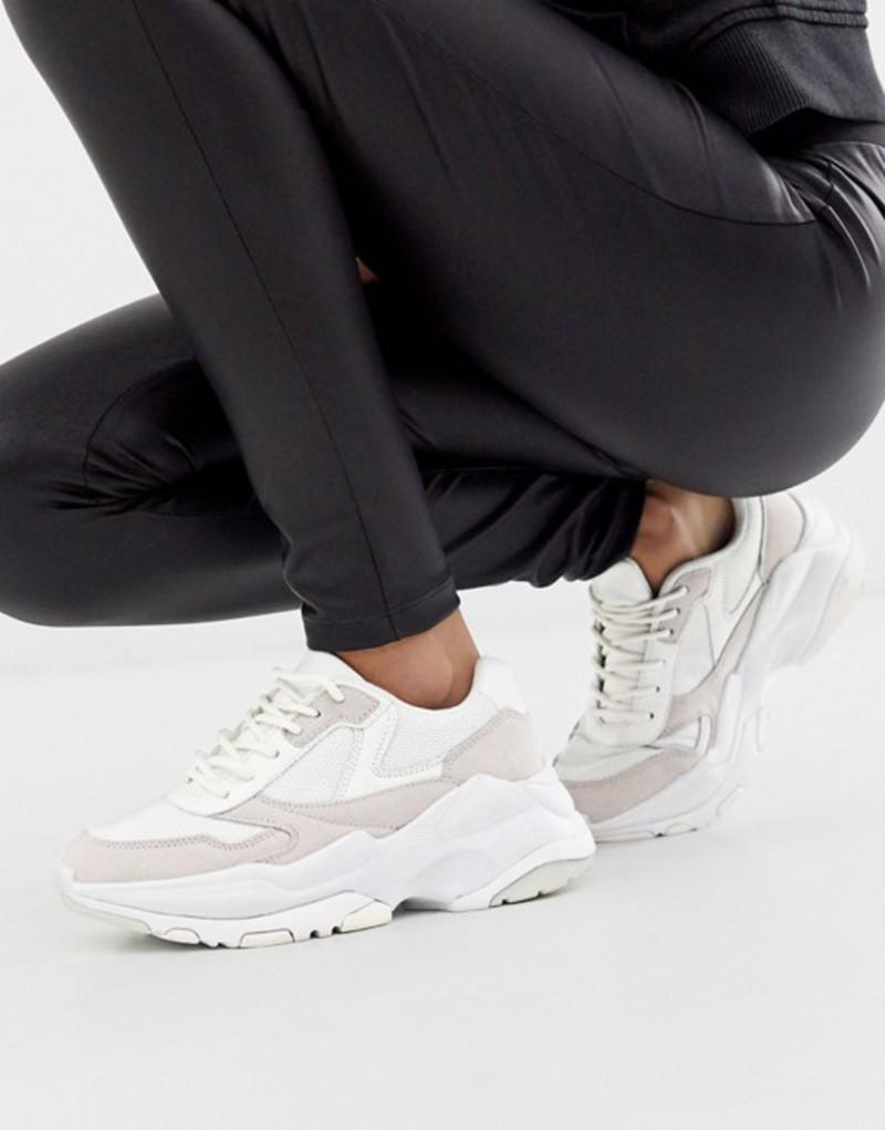 エイソス レディース スニーカー シューズ ASOS DESIGN Disposition chunky sneakers in white/off white White/off white