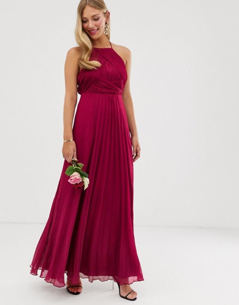 エイソス レディース ワンピース トップス ASOS DESIGN Bridesmaid pinny maxi dress with ruched bodice Winter berry