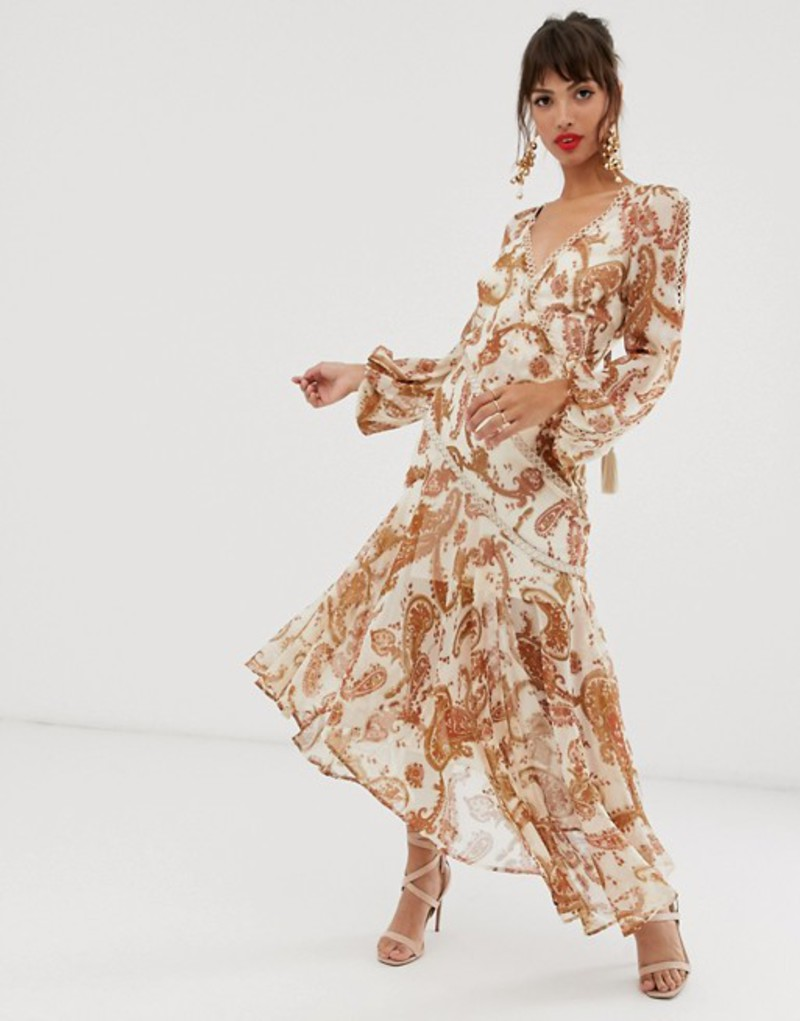 エイソス レディース ワンピース トップス ASOS DESIGN midi dress with long sleeve and lace trim in paisley print and tassle tie Rust paisley print