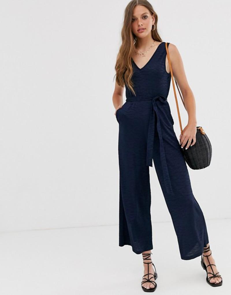 エイソス レディース ワンピース トップス ASOS DESIGN v front v back textured sleeveless jumpsuit with tie waist Navy