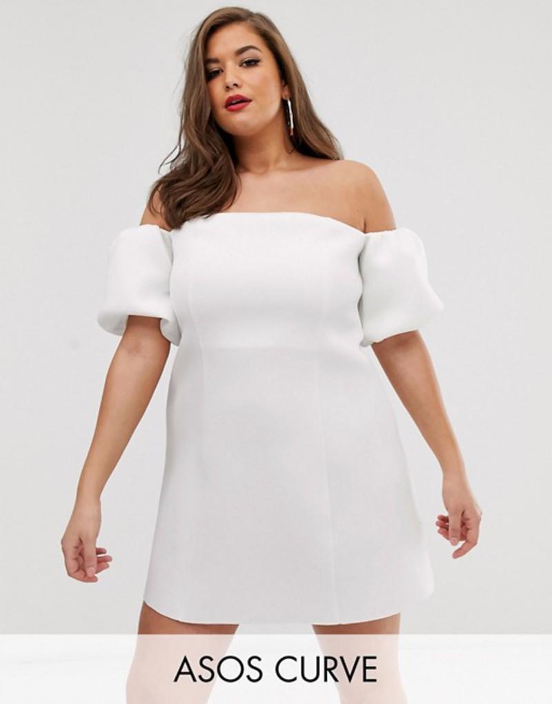 エイソス レディース ワンピース トップス ASOS DESIGN Curve puff sleeve mini skater dress White