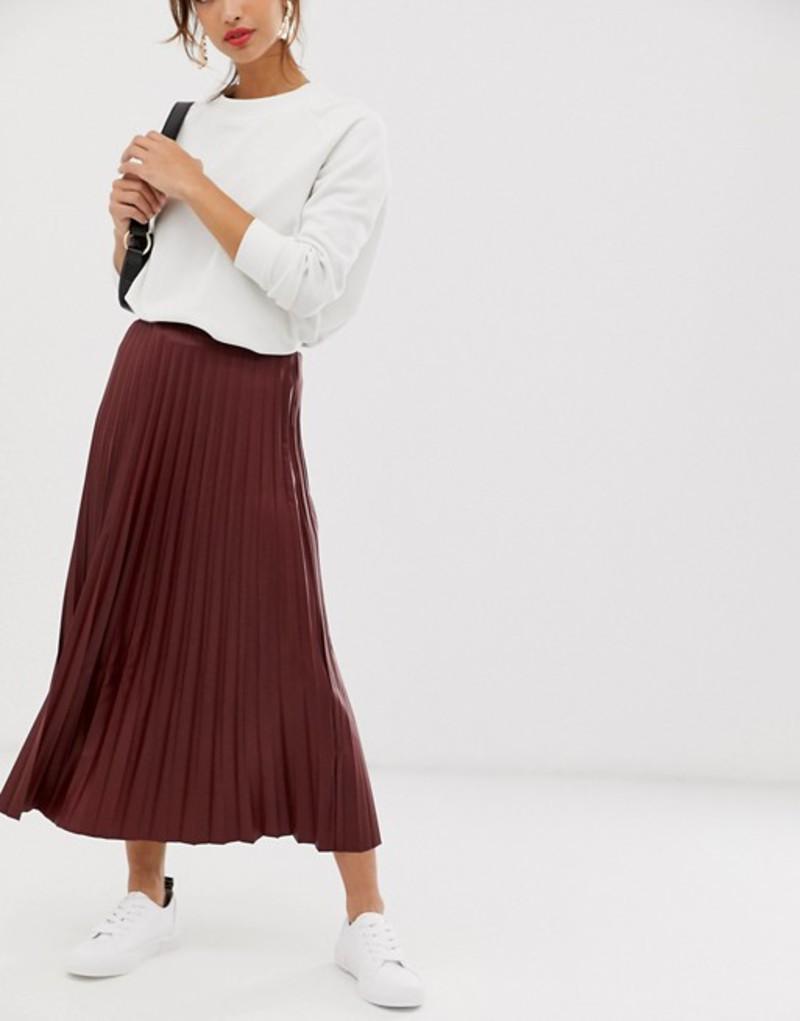 エイソス レディース スカート ボトムス ASOS DESIGN leather look pleated midi skirt Burgundy