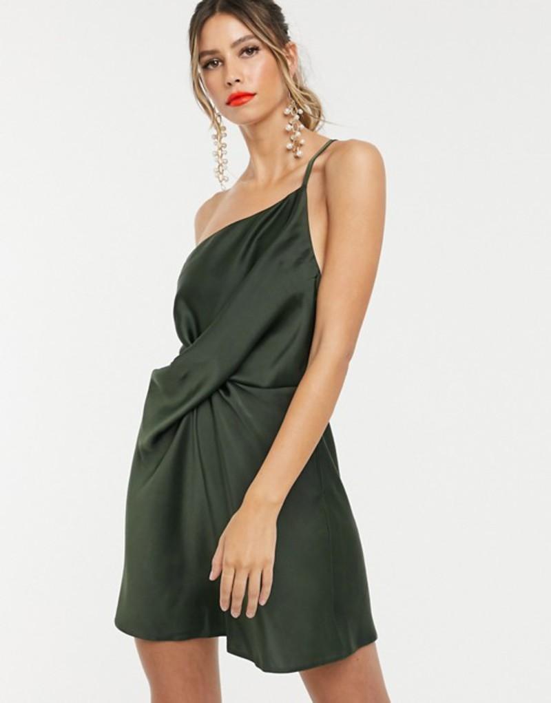 エイソス レディース ワンピース トップス ASOS DESIGN mini dress with one shoulder in satin Khaki