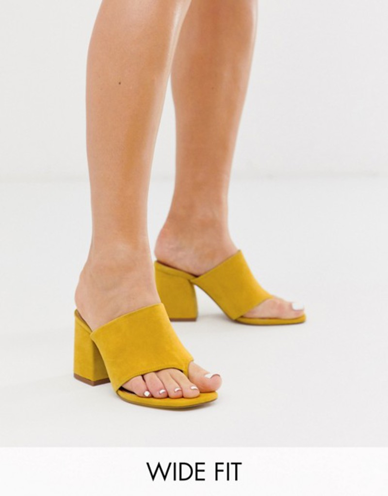 エイソス レディース サンダル シューズ ASOS DESIGN Wide Fit Waterfall suede heeled sandals in mustard Mustard suede