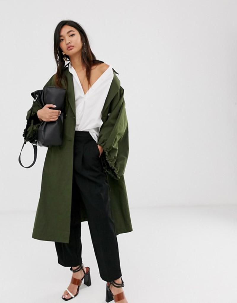 エイソス レディース コート アウター ASOS DESIGN extreme sleeve tech trench coat Khaki