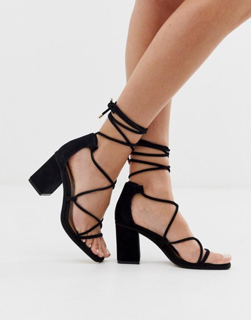 エイソス レディース サンダル シューズ ASOS DESIGN Host suede block heeled strappy sandals in black Black
