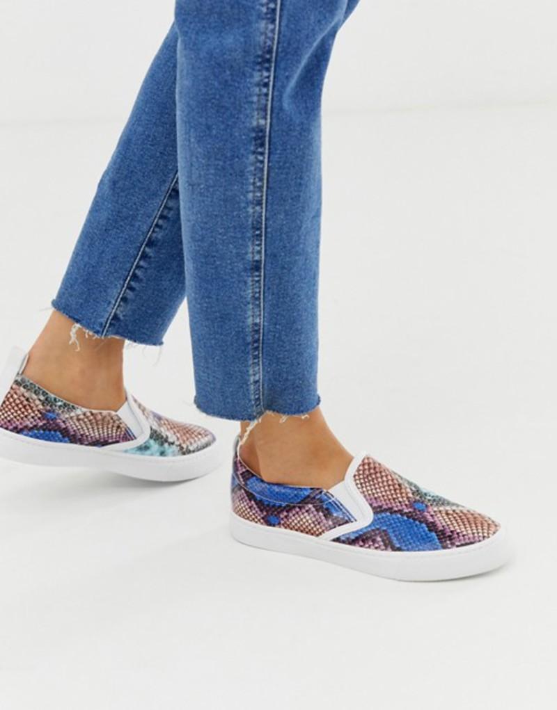 エイソス レディース スニーカー シューズ ASOS DESIGN Demi slip on sneakers in snake Pastel snake