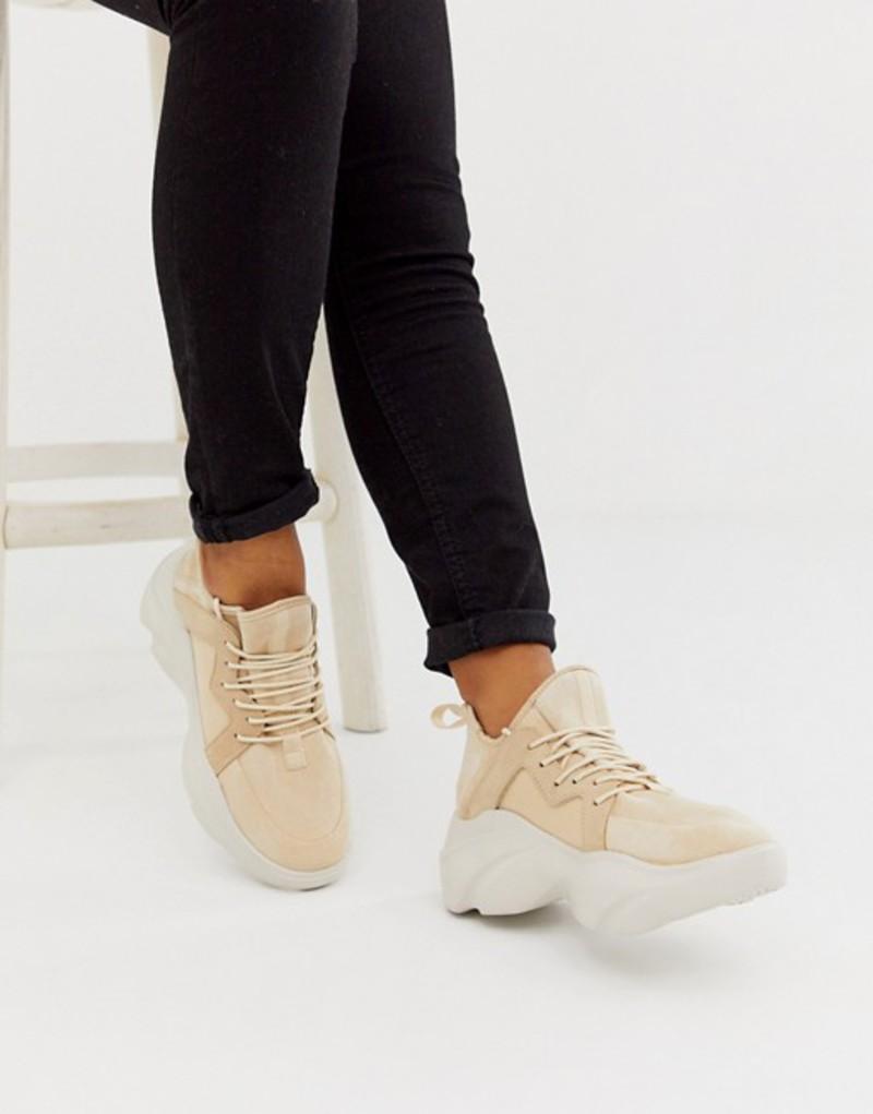 エイソス レディース スニーカー シューズ ASOS DESIGN Director chunky lace up sneakers in beige Beige drench