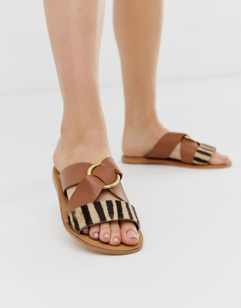 エイソス レディース サンダル シューズ ASOS DESIGN Frankie leather ring detail flat sandals Tan/zebra