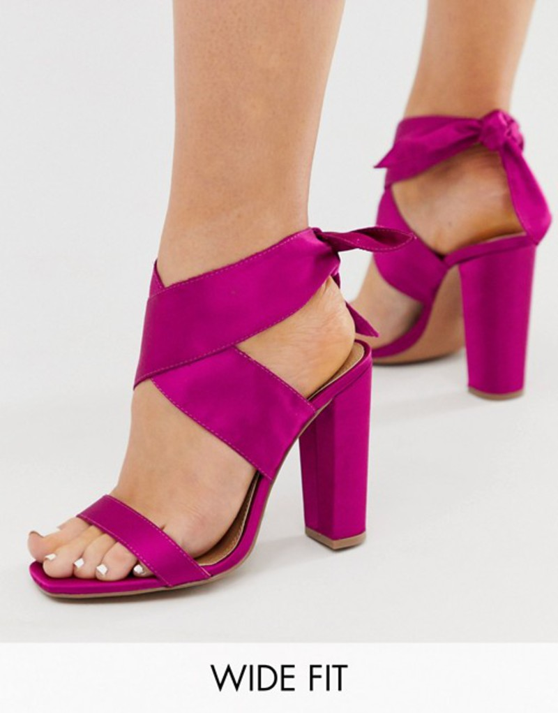 エイソス レディース サンダル シューズ ASOS DESIGN Wide Fit Wilderness tie leg block heeled sandals in fuschia Fuschia