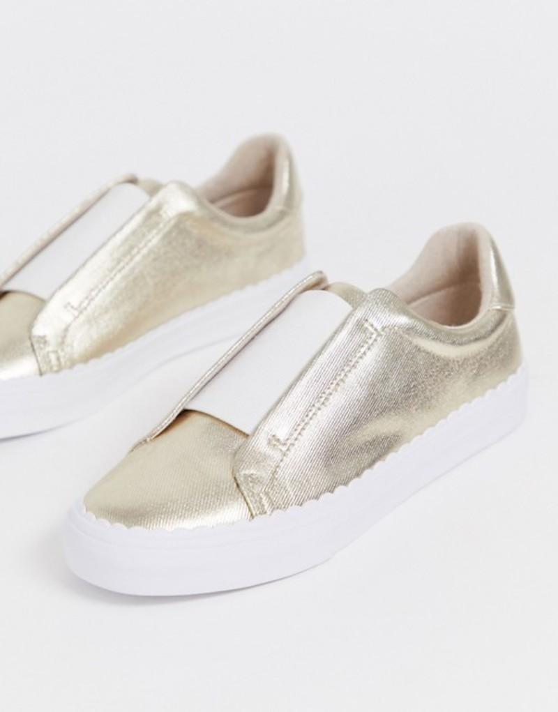 エイソス レディース スニーカー シューズ ASOS DESIGN Devoted slip on sneakers in champagne gold Champagne gold