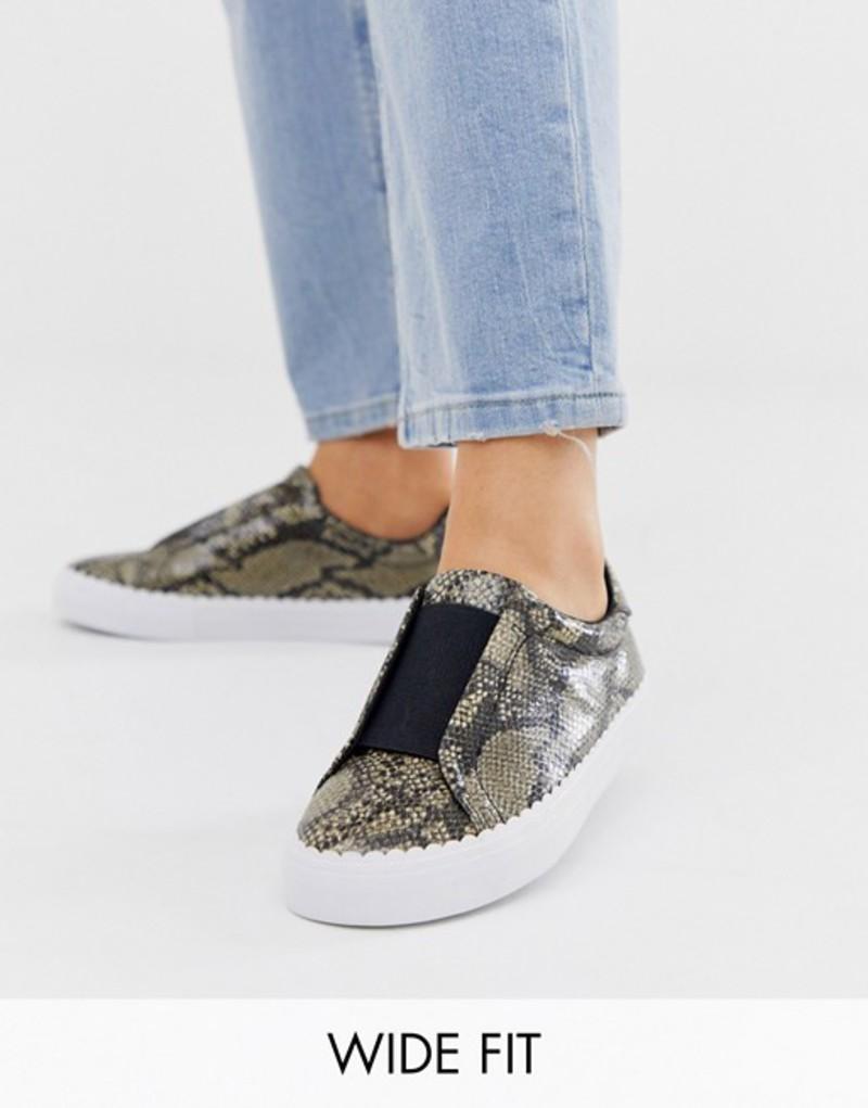 エイソス レディース スニーカー シューズ ASOS DESIGN Wide Fit Devoted slip on sneakers in natural snake Natural snake