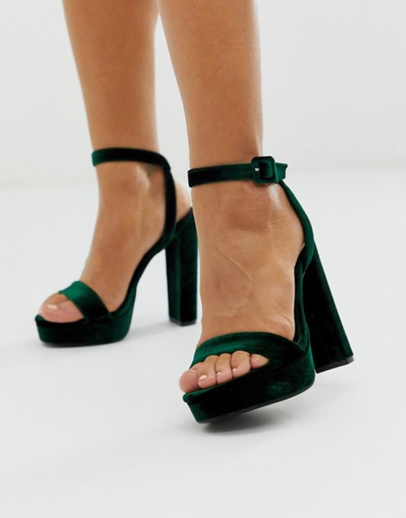 エイソス レディース ヒール シューズ ASOS DESIGN Nutshell platform barely there heeled sandals in green Green velvet
