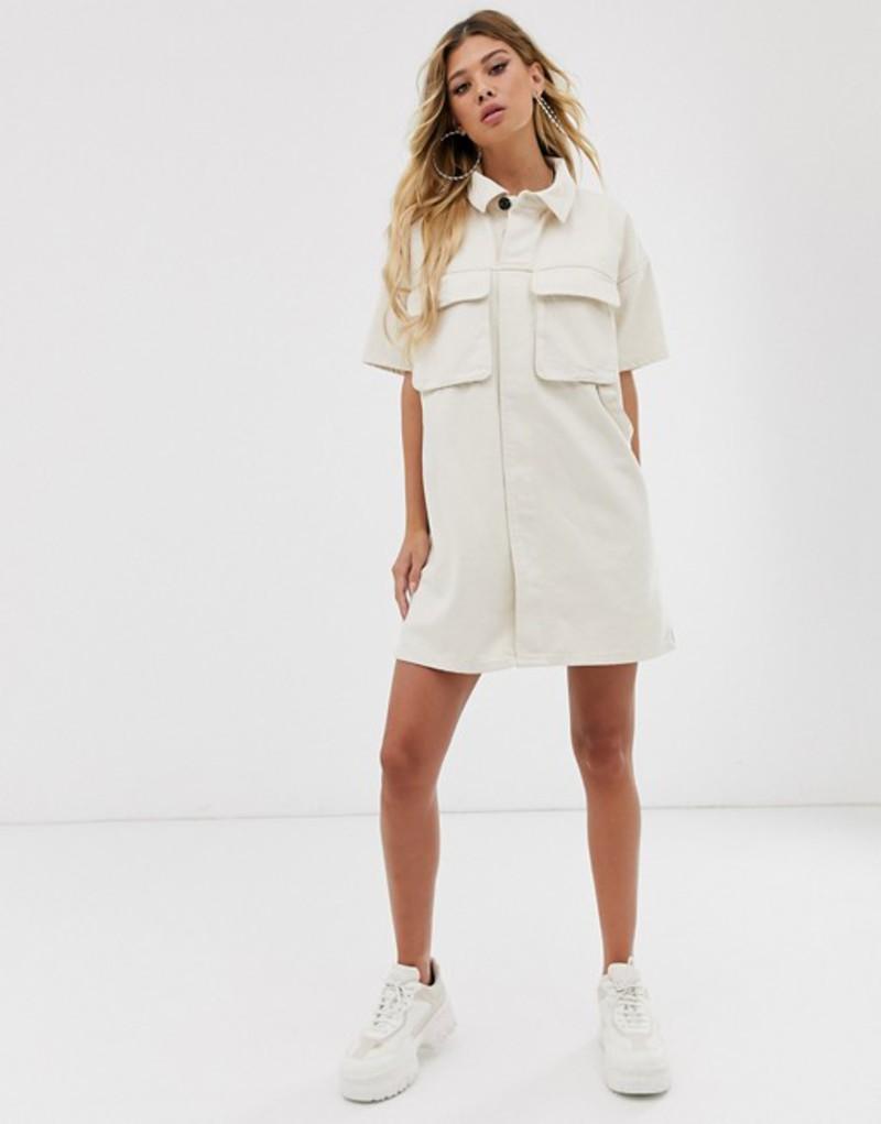 エイソス レディース ワンピース トップス ASOS DESIGN denim boxy shirt dress in ecru White