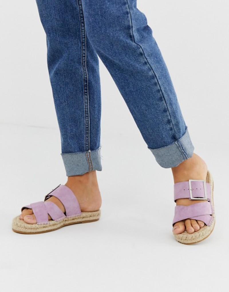エイソス レディース サンダル シューズ ASOS DESIGN Jazz leather buckle espadrille slider in lilac Lilac suede
