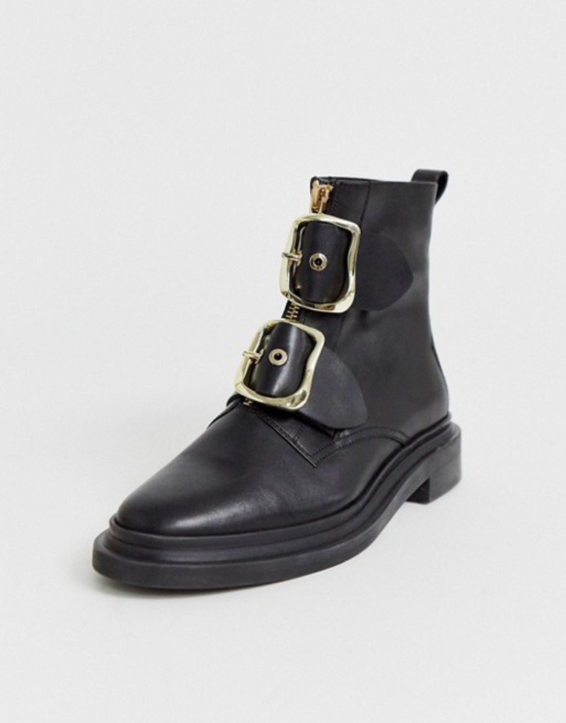 エイソス レディース ブーツ・レインブーツ シューズ ASOS DESIGN Attribute premium leather hardware boots in black Black leather