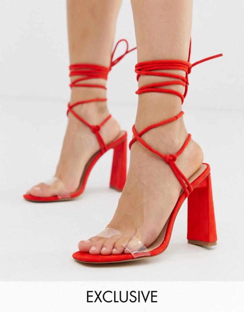 パブリックデザイア レディース サンダル シューズ Public Desire Exclusive Demi ankle tie heeled sandals Red micro