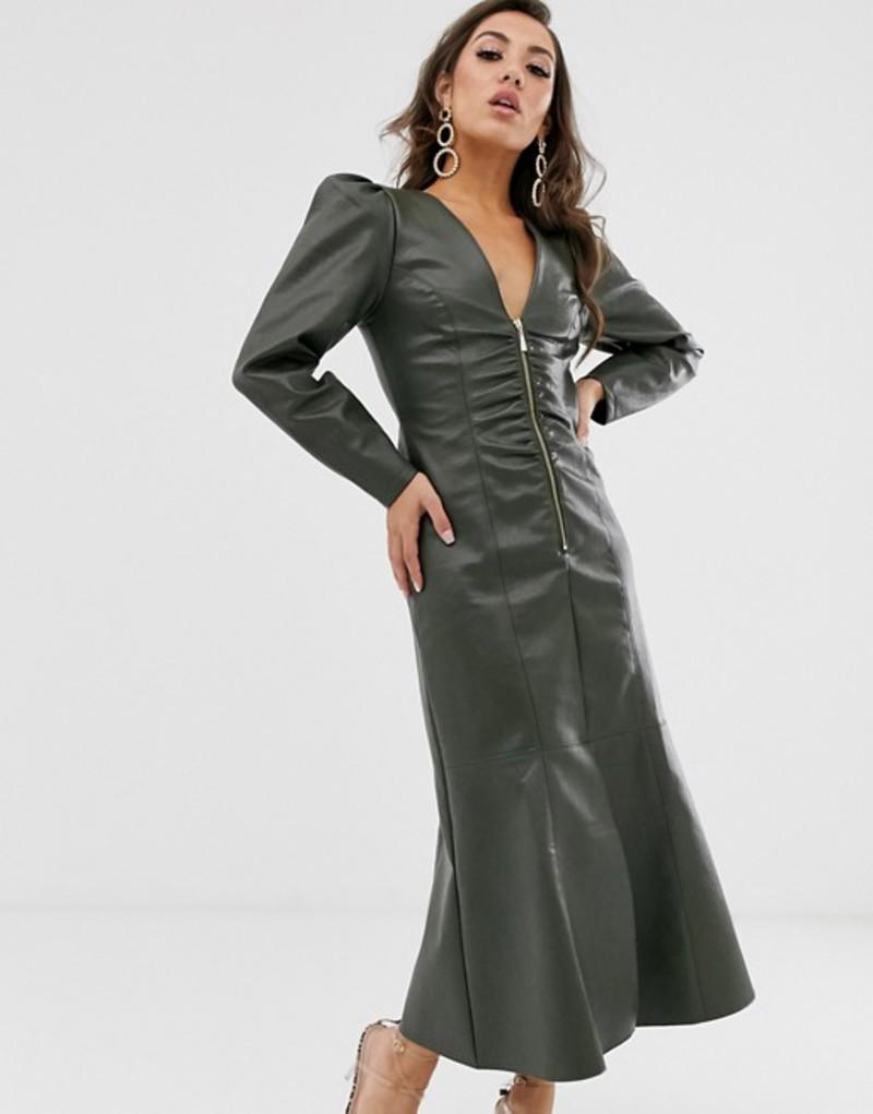 エイソス レディース ワンピース トップス ASOS DESIGN leather look zip through midi dress with pephem Khaki