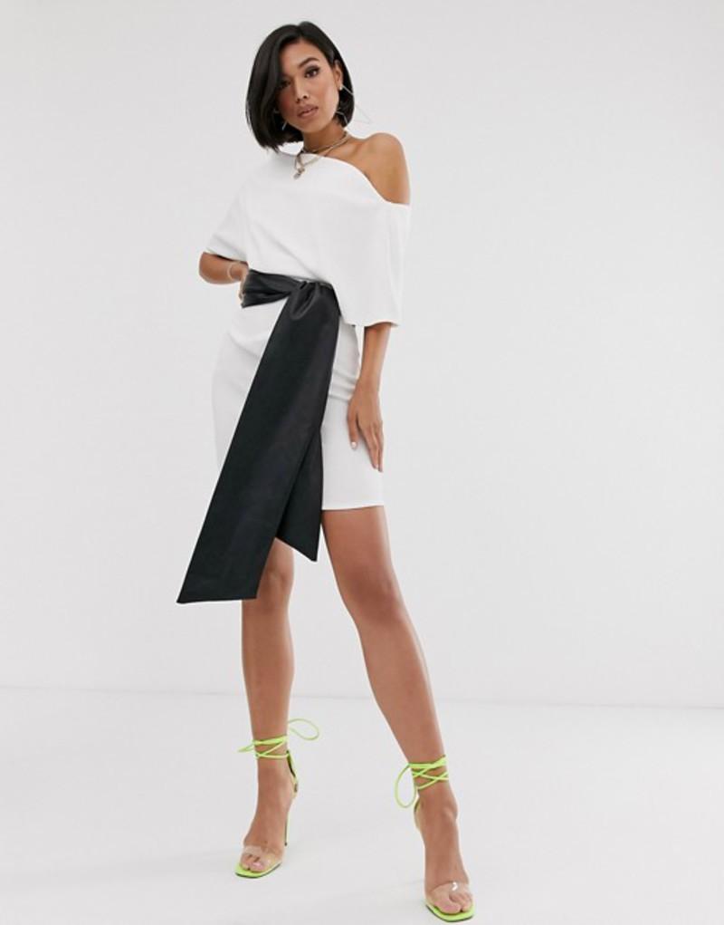 エイソス レディース ワンピース トップス ASOS DESIGN textured off shoulder mini dress with pu belt Ivory