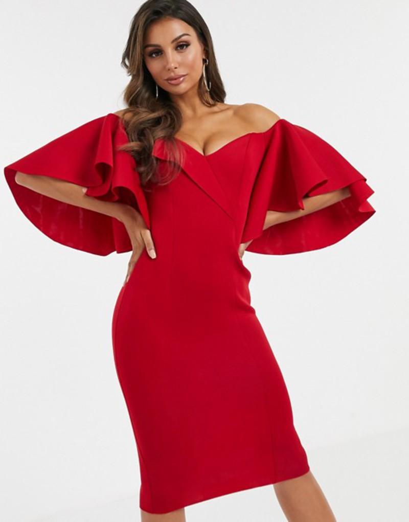 エイソス レディース ワンピース トップス ASOS DESIGN cape flutter bardot midi dress Red