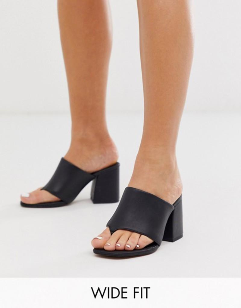 エイソス レディース サンダル シューズ ASOS DESIGN Wide Fit Waterfall leather heeled sandals in black Black leather